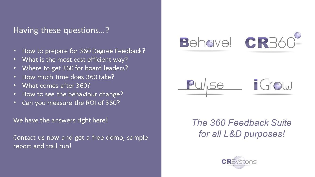 360 Degree Feedback System | Get a Free Online DemoCR Systems